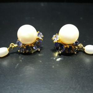 Natural Tanzanite and Pearl Earrings